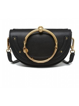 Half moon leather bag with golden strap
