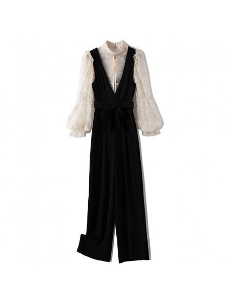 Black jumpsuit and lace shirt