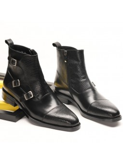"""Lorenzo"" Leather buckle boots"