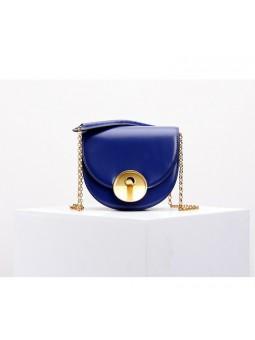 """lufio"" Blue leather chain bag"