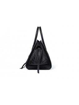 Leather handbag crocodile pattern