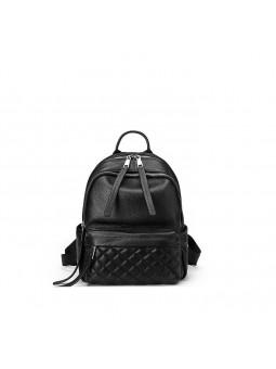"""Edgar"" Black leather backpack"